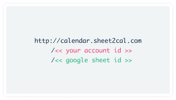 Create your sheet2cal url